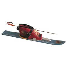 Vintage Miniature Ski, Boot & Pole, Austrian Souvenir