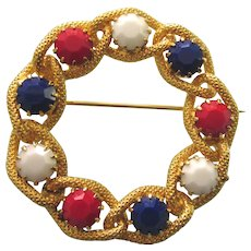 Vintage Red, White & Blue Patriotic Circle Pin