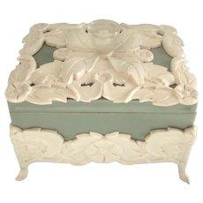 Ornate Vintage Celadon Celluloid Vanity or Jewelry Box