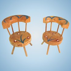 Vintage Dollhouse Pair of Curved Back Painted Monterey Type Chairs