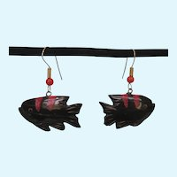 Vintage Black and Salmon Coral Carved Fish Pierced Earrings