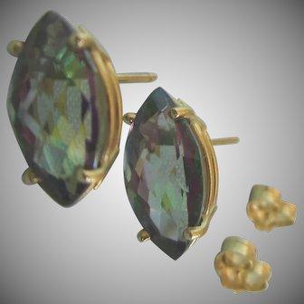 14K Mystic Topaz 3 CTW Faceted Marquis Stud Earrings