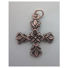 Vintage Sterling Ornate Malthese Cross Charm or Small Pendant
