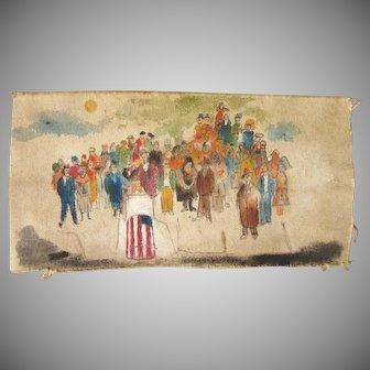 Vintage Original Patriotic Primitive Art Canvas
