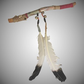 Vintage Tribal Talking Stick With Feathers, Beads, Cord, Paint, Bells
