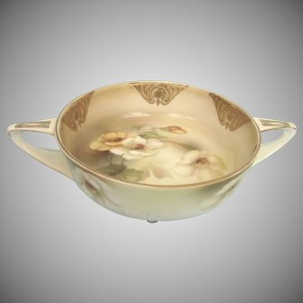 Lovely Art Deco RS Germany Footed Handled Bowl, Tillowitz, Reinhold Schlegelmilch