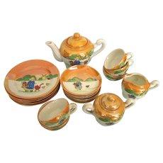 Wonderful Vintage Child's Tea Set, Luster Ware Dutch Girl, Near Complete