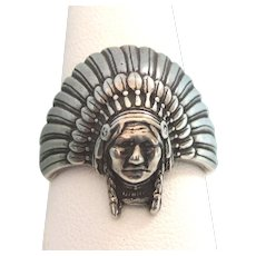 Exceptional Vintage Native American Indian Chief Ring, Size 11, Signed
