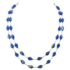 Signed Vendome Ethereal Blue Faceted Crystal and Silver Chain Two Strand Opera Length Necklace