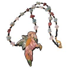 Signed Lee Sands Tropical Bird Inlaid Lucite and Gemstone Necklace