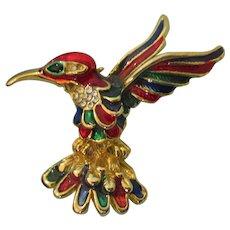 Vintage Guilloche Enamel Rhinestone Hummingbird Brooch