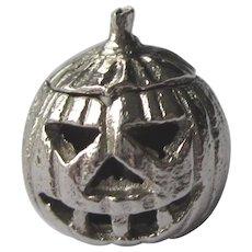 Vintage Sterling Mechanical Jack O Lantern 3-D Pumpkin Charm, Top Opens!
