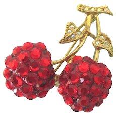 Dazzling Vintage Signed Suzanne Bjontegard Red Cherry Cluster Brooch