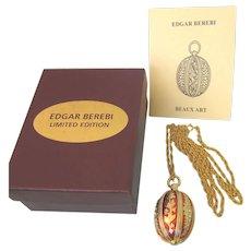 "Edgar Berebi Limited Edition Enamel Egg Pendant 30"" Necklace in Original Box"