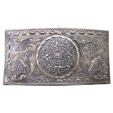 Vintage Sterling Eagle 50 Mayan Calendar V.H.L.C., Plata de Jalisco Buckle