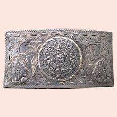 Vintage Sterling Eagle 50 Mayan Calendar V.H.L.C., Plata de Jalisco Buckle, 38.6 Grams