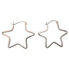 Sterling Silver Star Shaped Hoop Pierced Earrings