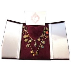 Exquisite Joan Rivers 19 Charm Hearts and Flowers Necklace With Presentation Box