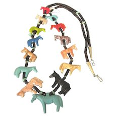 """Southwestern Carved All Horses Fetish 34"""" Long Multicolor Stone Necklace"""