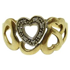 Romantic 14K Yellow and White Gold Hearts Ring With Diamond Accents, Size 9-1/2