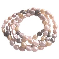Vintage Set of 4 Honora Pearl Stretch Bracelets, Neutrals