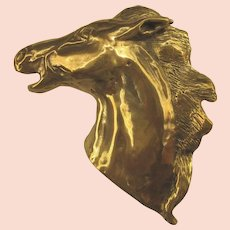 Vintage Brass Horse Figural Buckle, Dimensional and Bold
