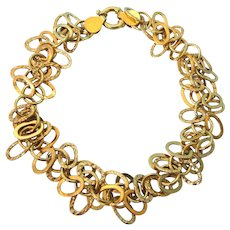 "Fabulous Italian 14K Yellow Gold 8"" Bracelet of Dangling Circles"