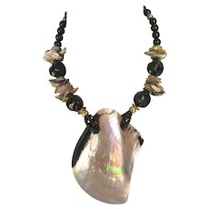 """Dramatic Abalone Shell 24"""" Tropical Necklace"""