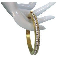 Dazzling Vintage Rhinestone Goldtone Hinged Oval Bangle Bracelet, Small Size