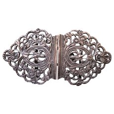 Unusual Old Sterling Silver Ornate Buckle, Figural Detail