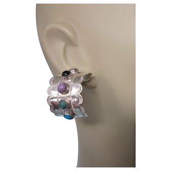 Fabulous Signed NA Sterling Multi-Gemstone Huge Hoop Earrings