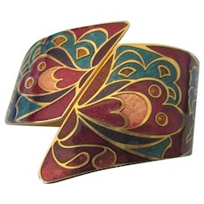 Gorgeous Wide Enamel Cloisonne Vibrant Hinged Bangle