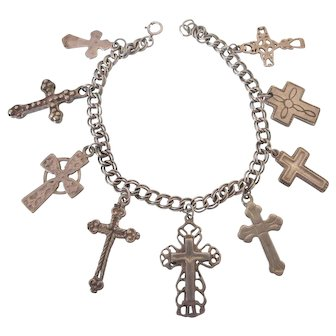 Wonderful Sterling Charm Bracelet With Old NA and Mexican Crosses