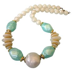 "Vintage Pearlized Lucite Bead Chunky 24"" Necklace, White and Aqua"