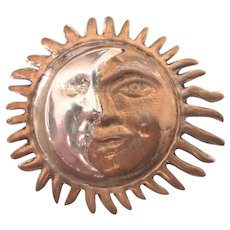 Vintage Sterling Sun and Moon Pendant / Brooch Mixed Metal