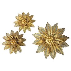 Vintage Ornate Filigree Floral Pin and Clip Earring Set, Gold Wash