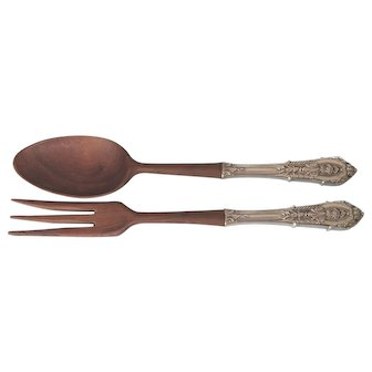 Vintage French Wood and Ornate Silverplate Salad Services