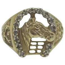 Vintage 10K Gold Horse and Horseshoe Ring With Diamond Accents, Size 8, 4.6 Grams