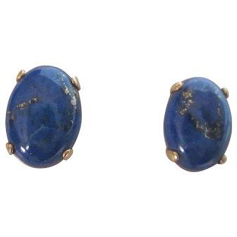Vintage 14K YG Lapis Lazuli Oval Stud Earrings For Pierced Ears