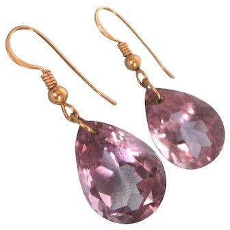 Spectacular 14K Gold 20 TCW Amethyst Gemstone Dangle Pierced Earrings