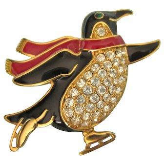 Signed Trifari 1997 Skating Penguin, Enamel and Rhinestones