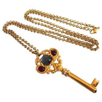 """Gorgeous Jewelled Key Pendant 32"""" Belcher Chain Necklace, Two Sided Design"""