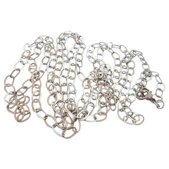 """Fabulous Sterling 60"""" Oval Links Rings Rope Necklace"""