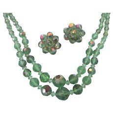 Vintage Green AB Crystal Choker Necklace and Cluster Clip Earrings, Mid-20th Century Set