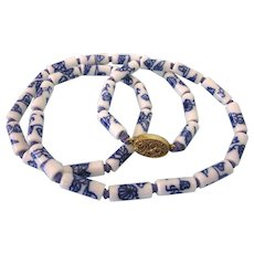 "Vintage Chinese Porcelain Bead 25"" Necklace, Hand Knotted, Filigree Gilt Clasp"