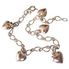 "Vintage Italian Sterling Puffy Hearts Charm Bracelet, 6-3/4"""