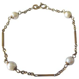 "Vintage Italian 14K Gold Cultured Pearl 6-3/4"" Bracelet"