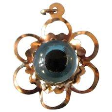 Vintage 9K Rose Gold Evil Eye Amulet Pendant or Charm