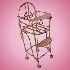 1970's Dollhouse Brass High Chair