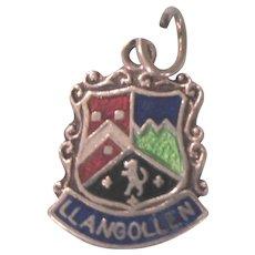 Llangollen Wales Silver and Enamel Travel Shield Ornate Charm